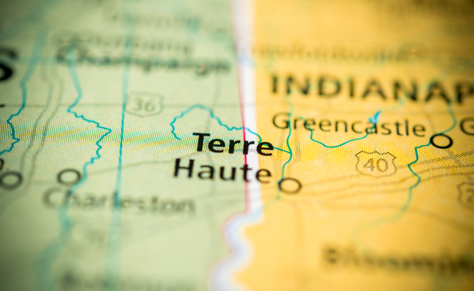 Terre Haute on a map