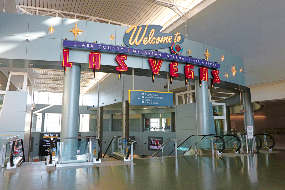welcome sign at McCarran International Airport, Las Vegas