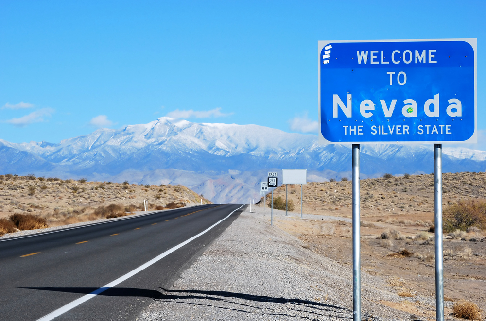 Nevada state welcome road sign