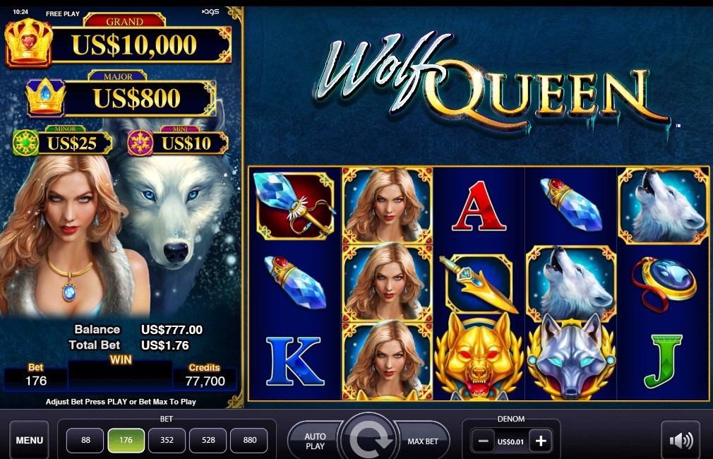 Wolf Queen slot reels by AGS
