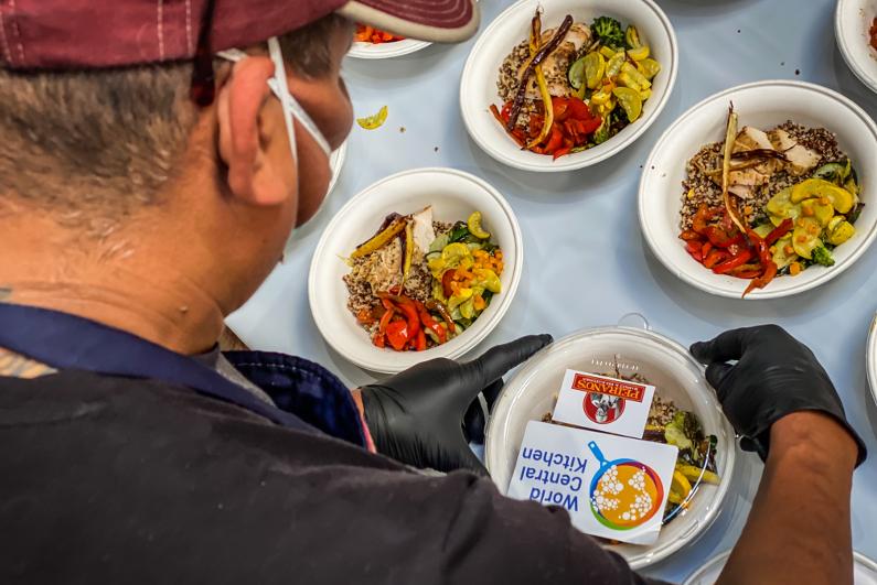 World Central Kitchen worker preparing meals