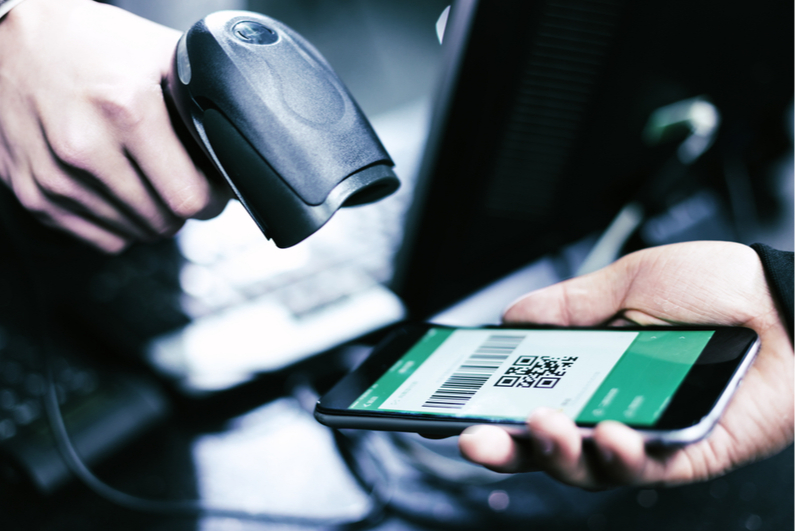 Scanning a QR code on a smartphone