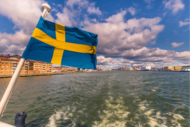 Swedish flag on boat in Gothenburg, Sweden