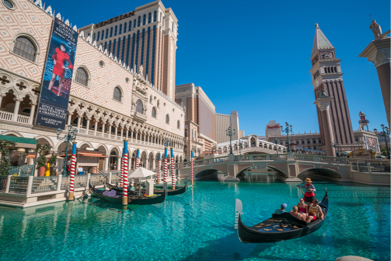 Gondola rides in the canals of the Venetian in Las Vegas