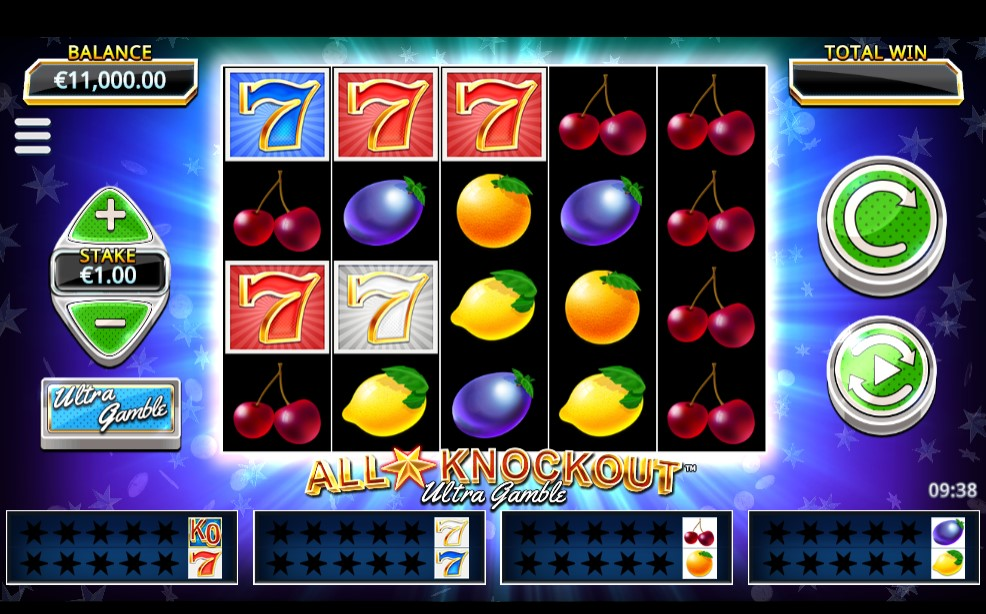 All Star Knockout Ultra Gamble slot reels by Northern Lights Gaming