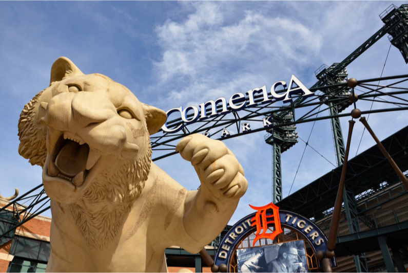Tiger statue outside of Comerica Park, home of the Detroit Tigers