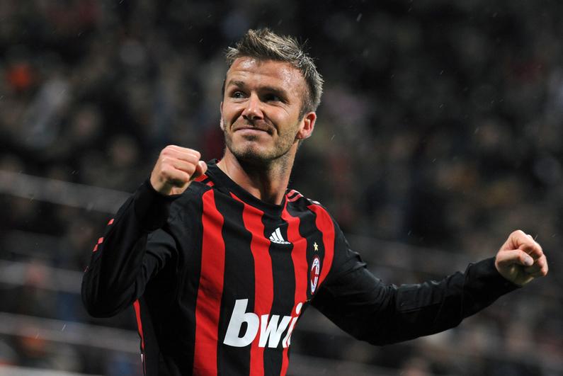 David Beckham celebrating during a soccer match