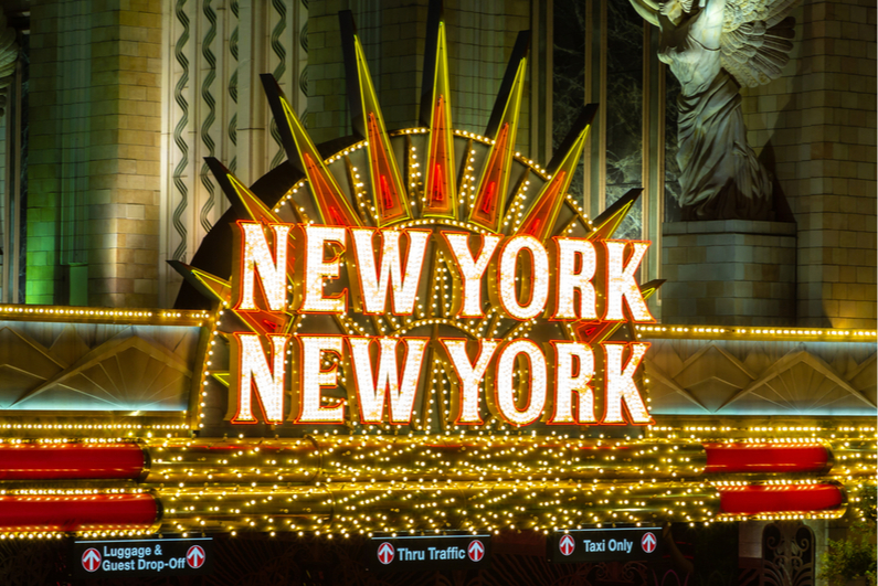 New York New York casino sign