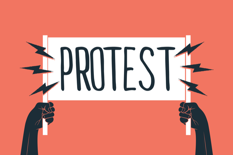 """Drawing of two black hands holding up sign that says """"PROTEST"""""""