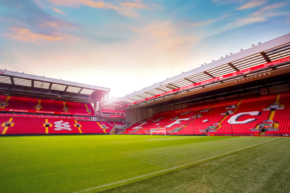 Anfield Stadium, the home ground of soccer club Liverpool FC