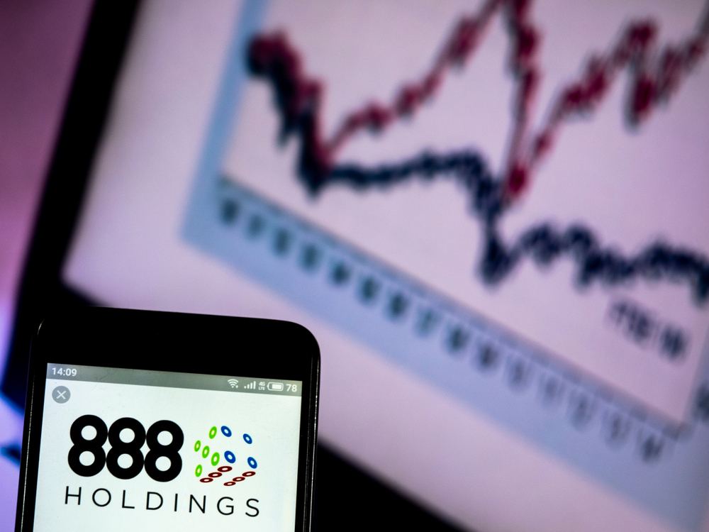 888 Holdings logo displayed on a smartphone screen