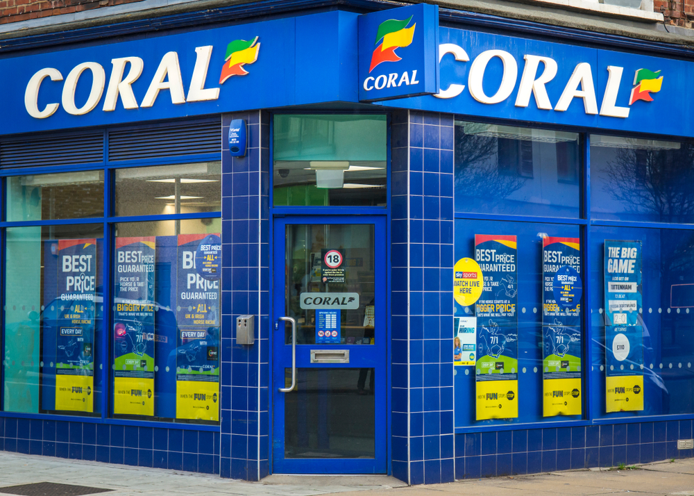 facade of a Coral betting shop in the UK