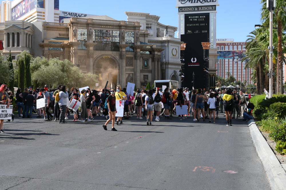 People protesting the death of George Floyd on the streets of Las Vegas