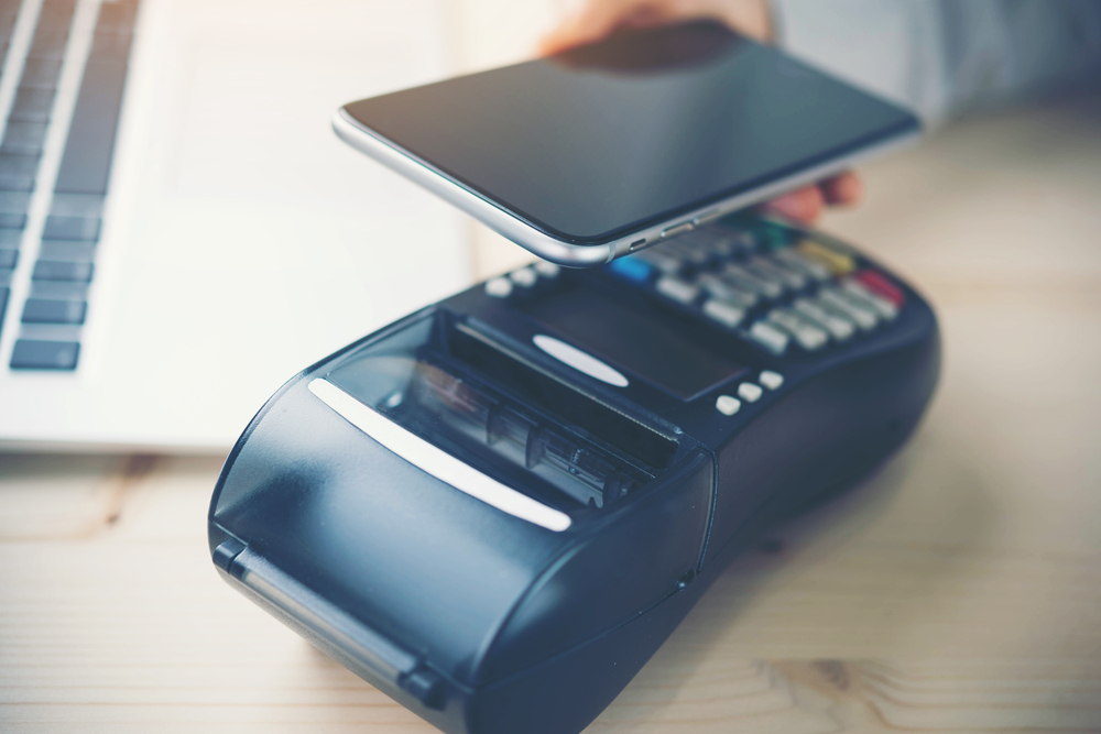 smartphone used to make cashless payment