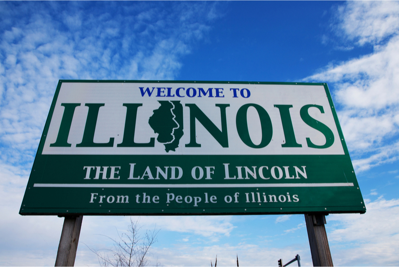 """Welcome to Illinois"" highway sign"
