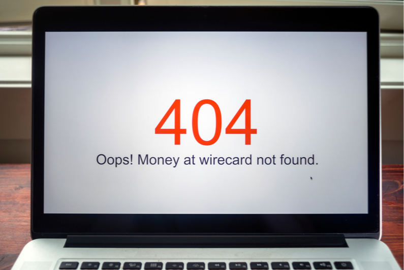 "Laptop showing ""404 error"" of missing Wirecard funds"