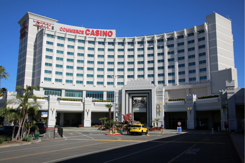 Front entrance of Commerce Casino