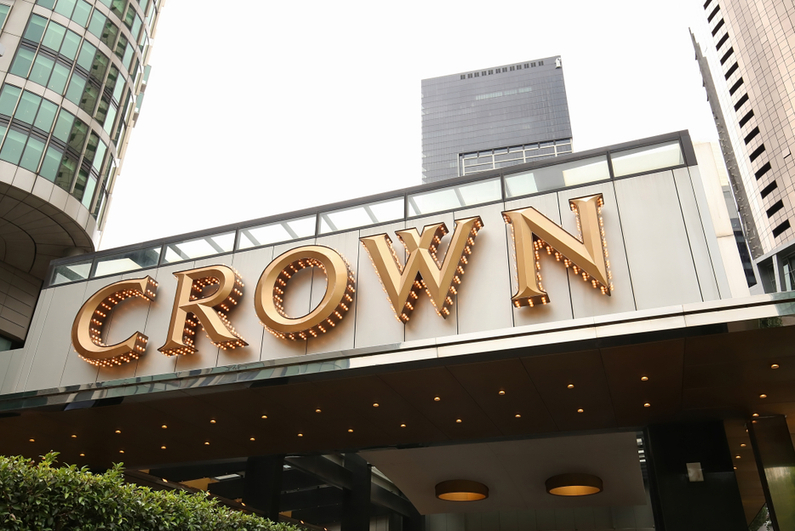 Crown Melbourne casino sign