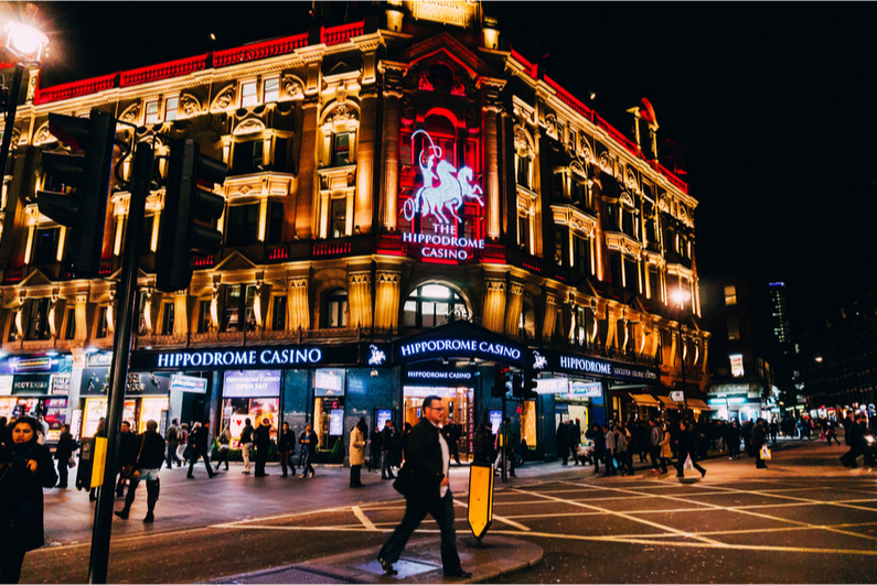 Hippodrome Casino in London at night
