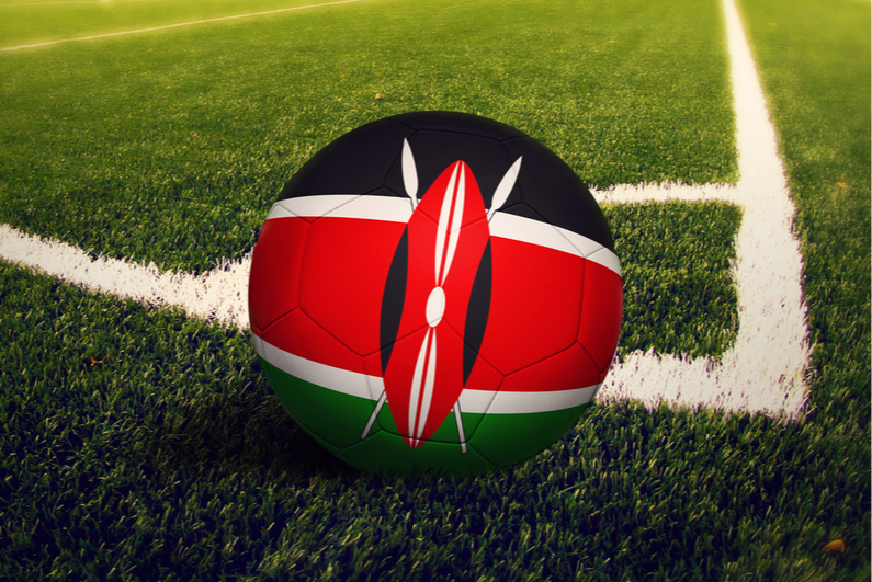 Soccer ball painted like Kenyan flag