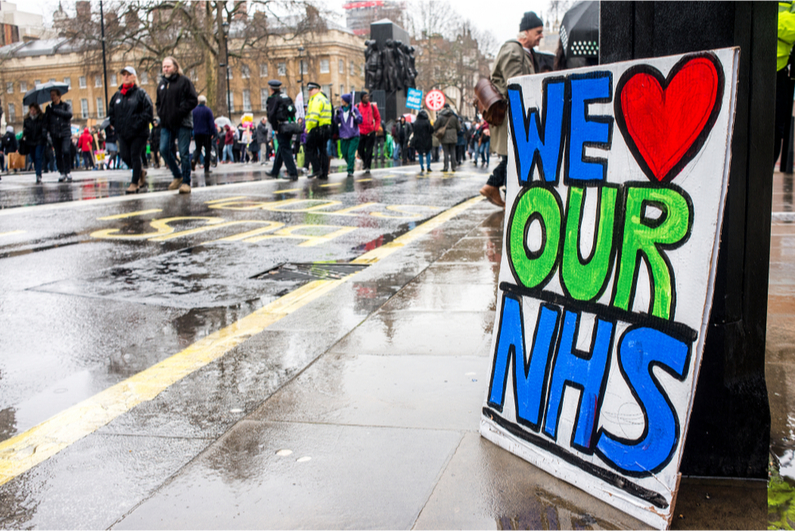 """We Love Our NHS"" sign"
