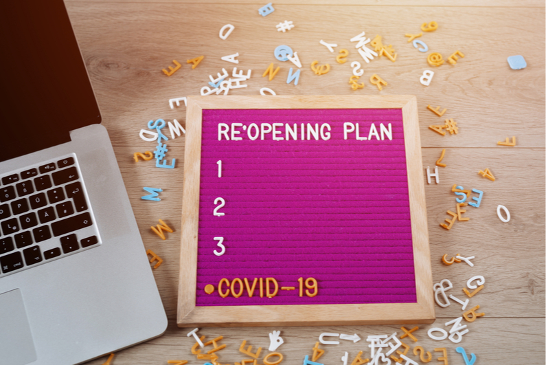Letter board showing a blank COVID-10 reopening checklist