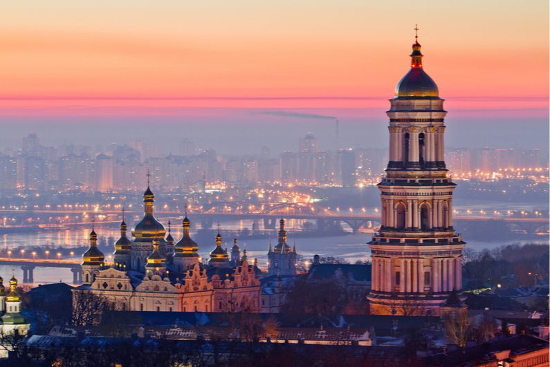 Kiev city skyline at dusk