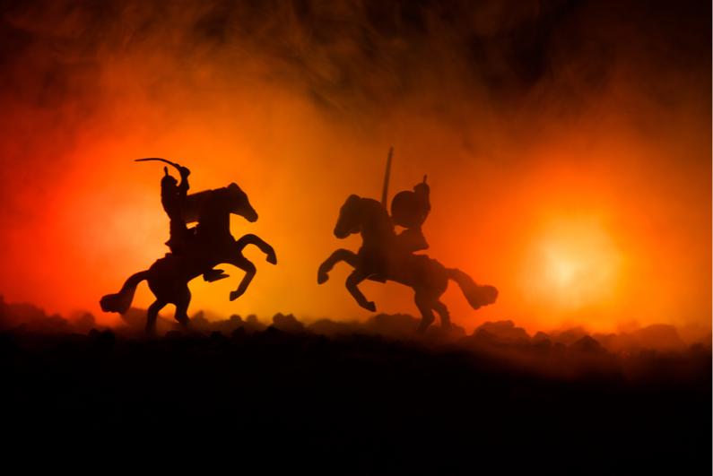 Medieval horseback battle