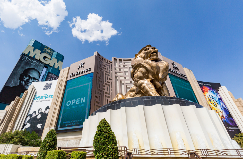 giant golden lion statue outside the MGM Grand Hotel and Casino on the Las Vegas Strip