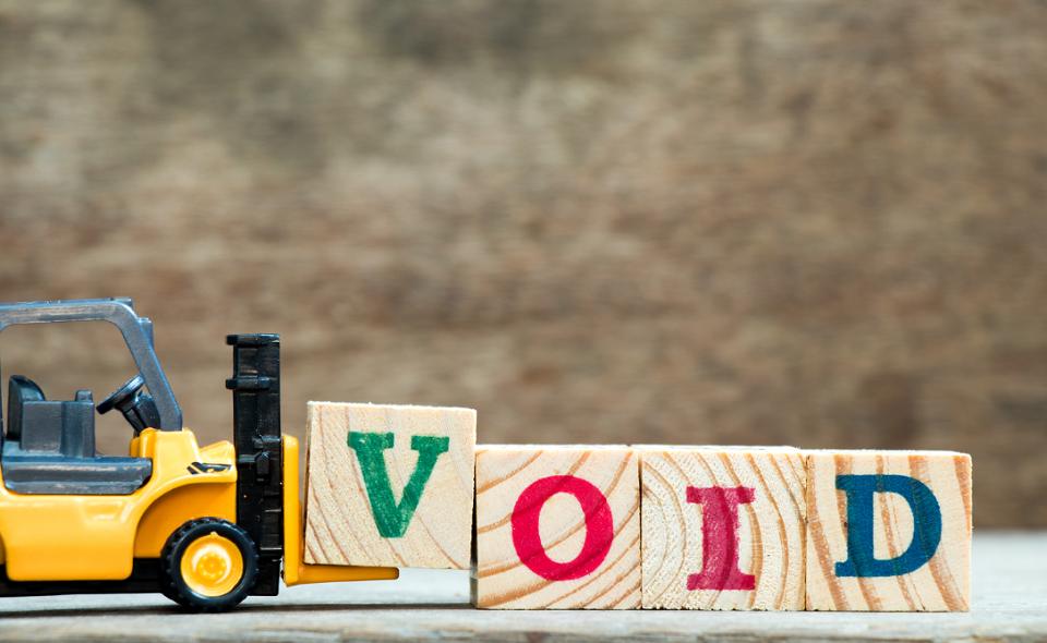 VOID spelt in wooden blocks