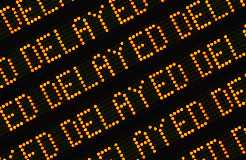"multiple instances of word ""delayed"" appear on digital display board"