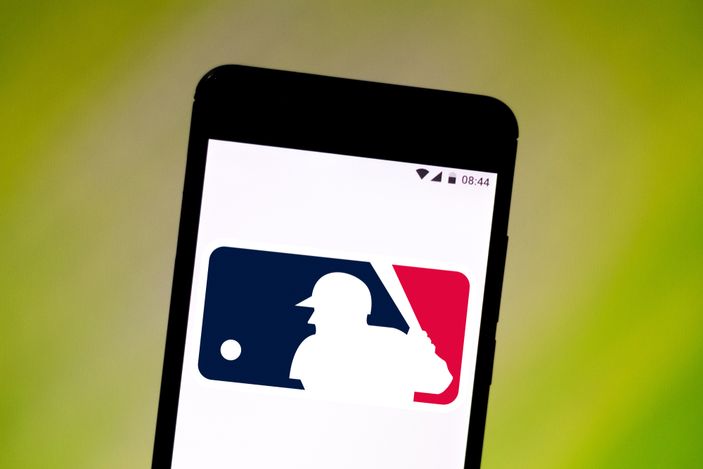 MLB logo on smartphone