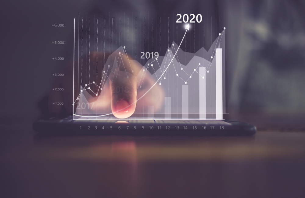Augmented reality financial charts showing growing revenue In 2020