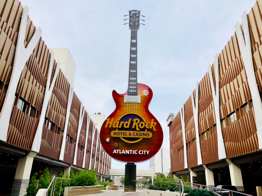 Branded guitar sculpture outside the Hard Rock hotel and casino in Atlantic City