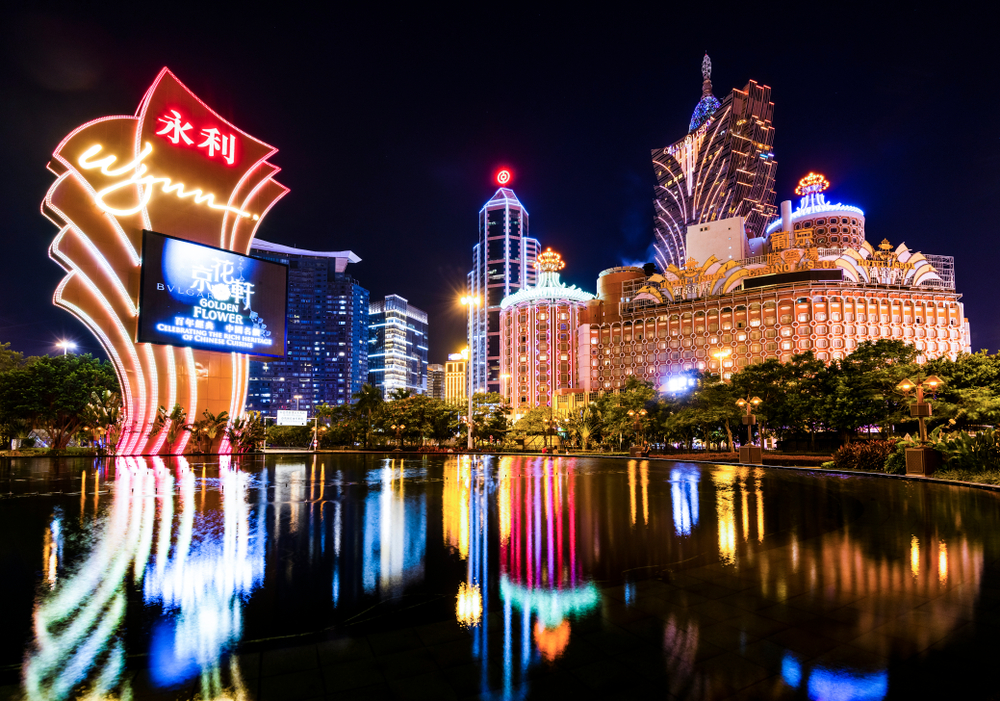 night shot of illuminated casinos in Macau, China