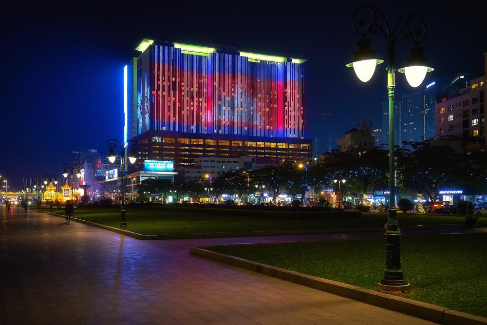Night shot of the illuminated NagaWorld building in Phnom Penh, Cambodia