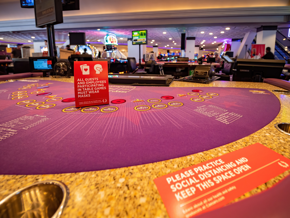 coronavirus face mask and social distancing notices at a Vegas casino