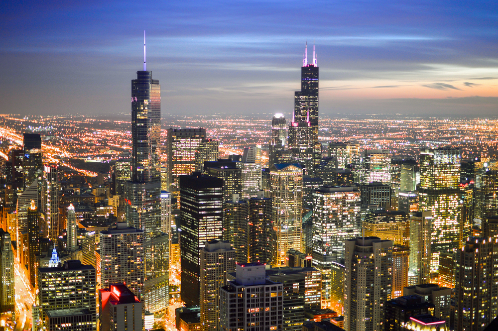 illuminated Chicago skyline