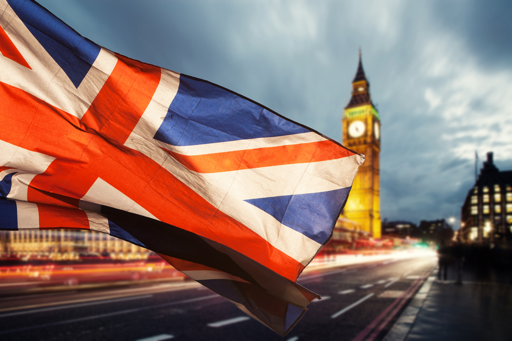 UK Union Jack flag with Big Ben building in background