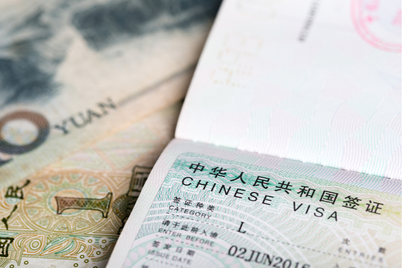 Chinese visa and currency