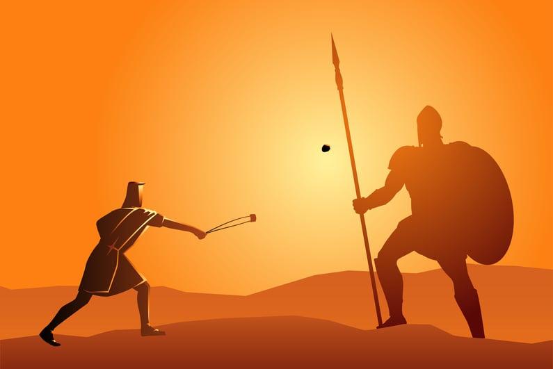 Drawing of David vs. Goliath