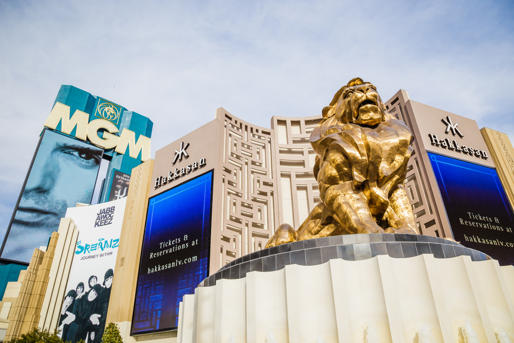 Gold lion statue outside MGM Las Vegas