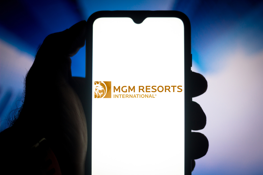 smartphone showing white screen with MGM Resorts International logo
