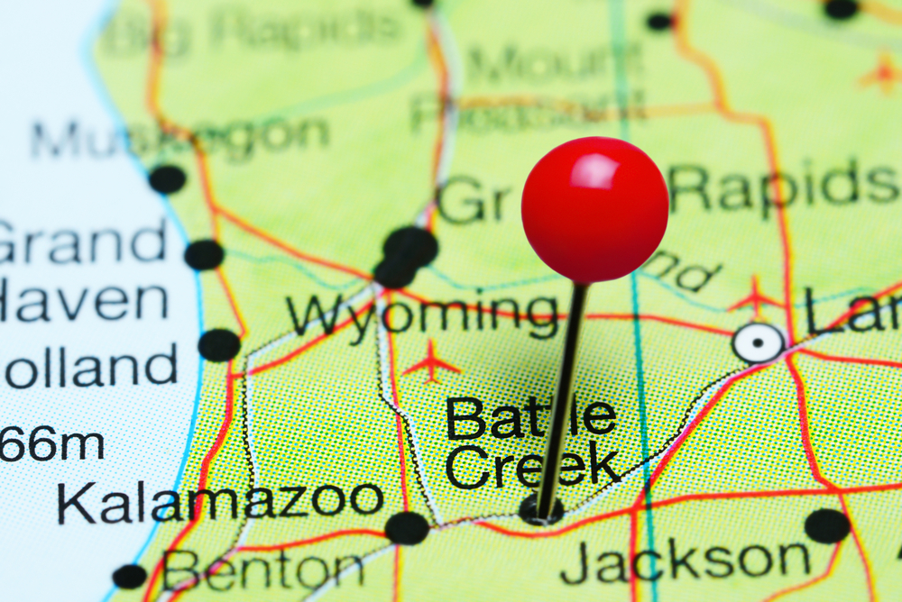 pin indicating Battle Creek Michigan on map