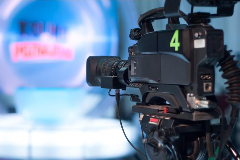 Television camera in a studio