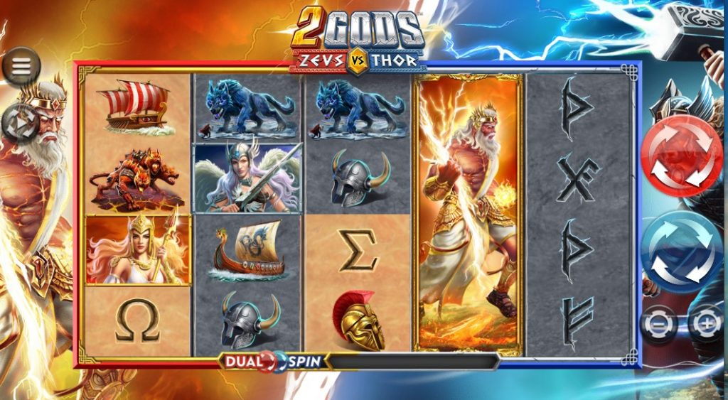 2 Gods Zeus vs Thor slot reels by 4ThePlayer