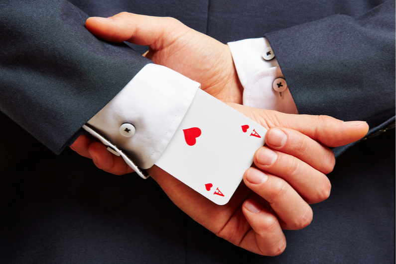 Ace up a businessman's sleeve