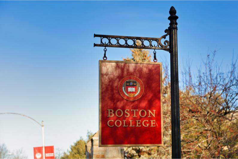 Boston College entrance sign