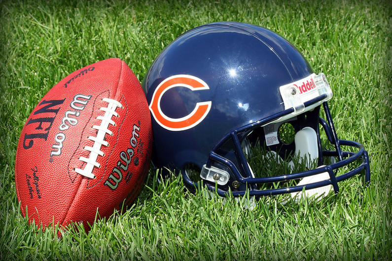 Chicago Bears helmet with football