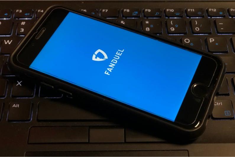 Smartphone showing the FanDuel splash screen